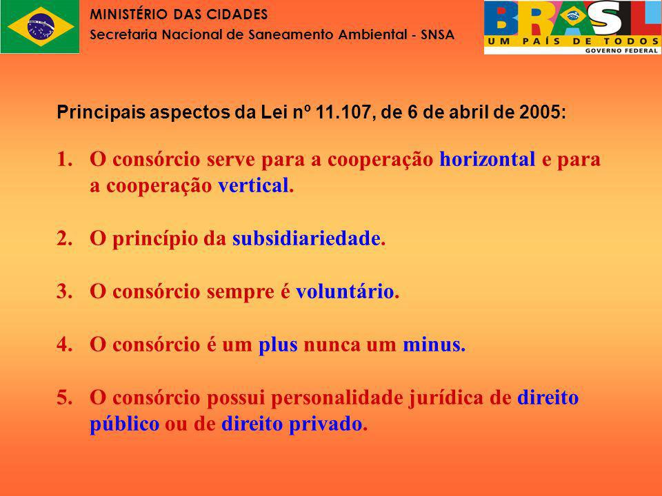 MINISTÉRIO DAS CIDADES Secretaria Nacional de Saneamento Ambiental - SNSA Lei nº11.107 Parte IV Finalidades do consórcio público