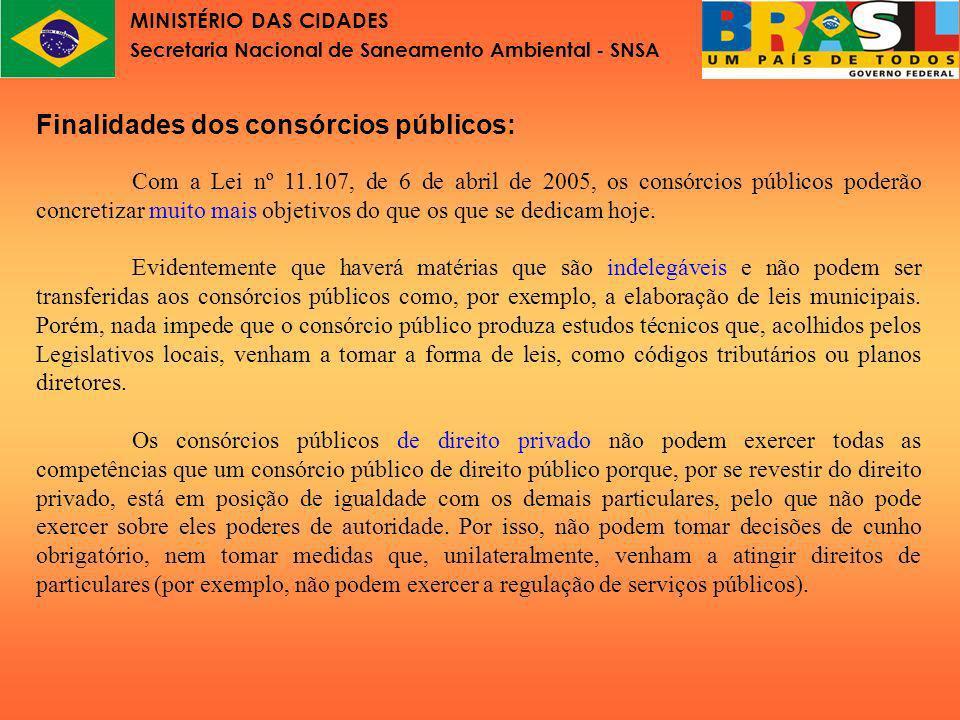 MINISTÉRIO DAS CIDADES Secretaria Nacional de Saneamento Ambiental - SNSA Finalidades dos consórcios públicos, alguns exemplos: 1.Compras conjuntas (de uma licitação vários contratos).