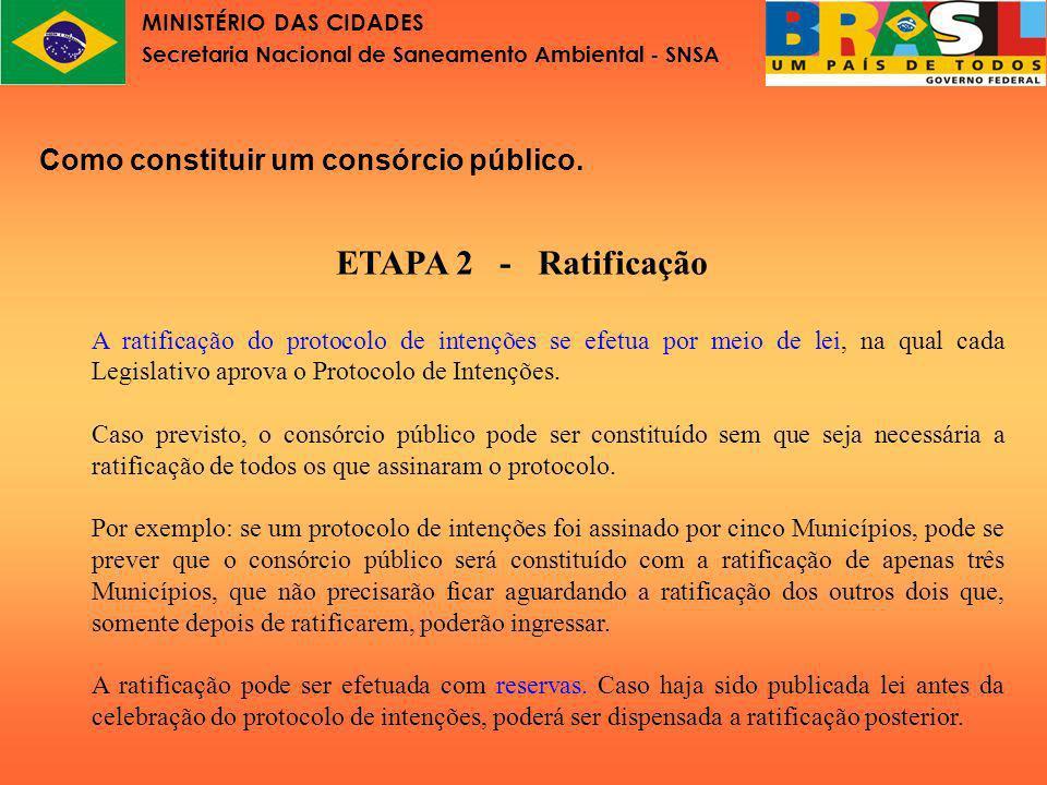 MINISTÉRIO DAS CIDADES Secretaria Nacional de Saneamento Ambiental - SNSA Como constituir um consórcio público.