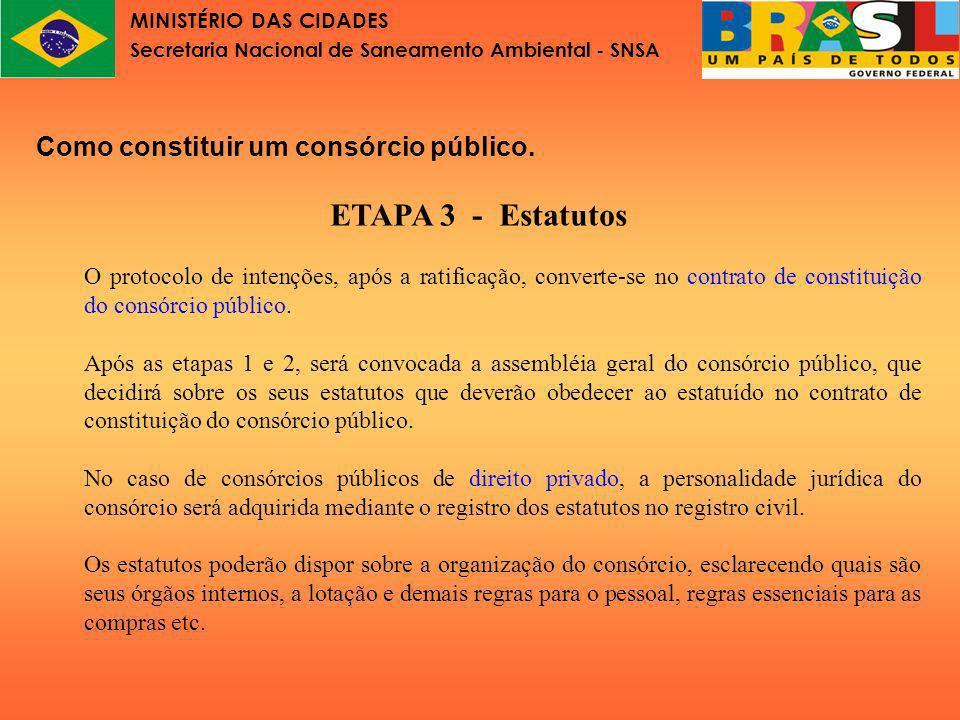 MINISTÉRIO DAS CIDADES Secretaria Nacional de Saneamento Ambiental - SNSA Lei nº11.107 Parte VI Gestão financeira do consórcio público