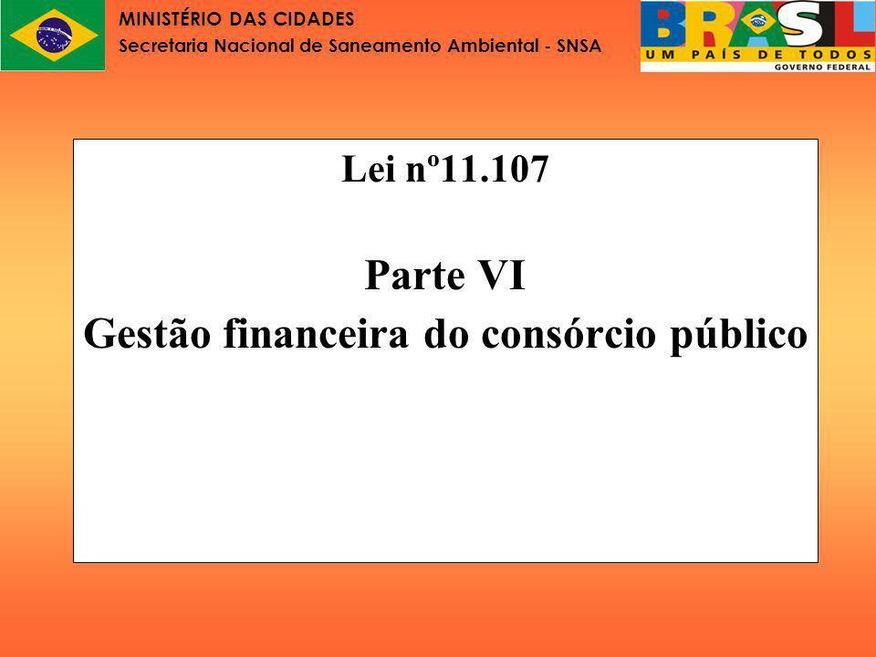 MINISTÉRIO DAS CIDADES Secretaria Nacional de Saneamento Ambiental - SNSA Gestão financeira do consórcio público Os consórcios públicos poderão receber recursos por quatro meios: 1.