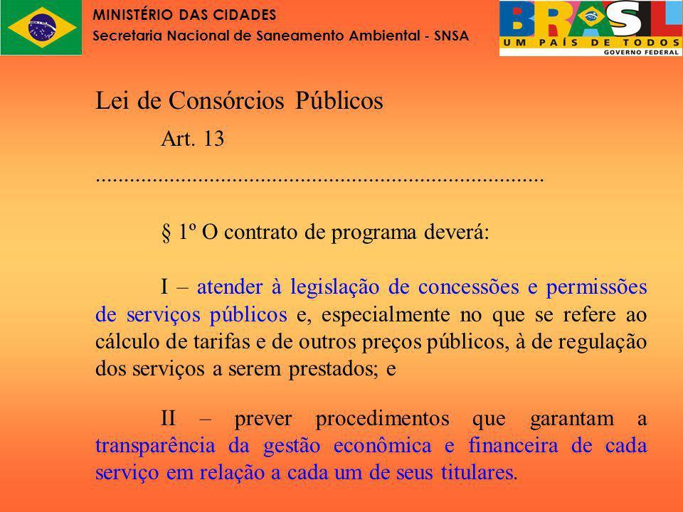 MINISTÉRIO DAS CIDADES Secretaria Nacional de Saneamento Ambiental - SNSA Lei de Consórcios Públicos: Art.13...............................................................................