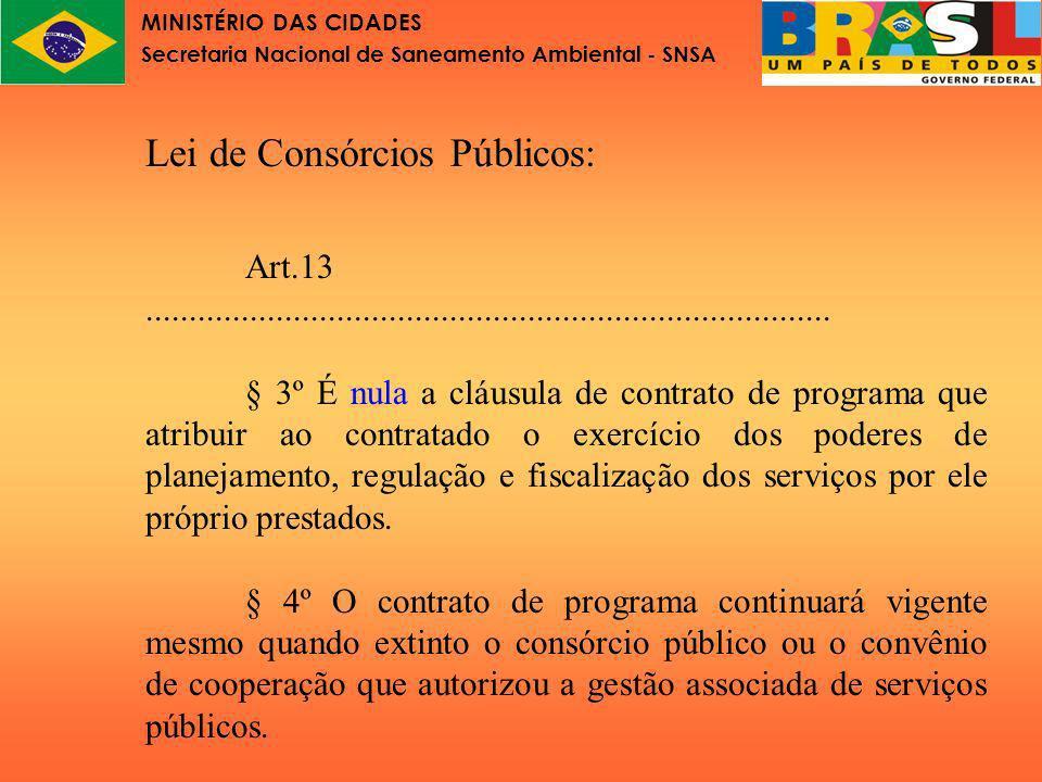 MINISTÉRIO DAS CIDADES Secretaria Nacional de Saneamento Ambiental - SNSA Lei de Consórcios Públicos Art.13...............................................................................