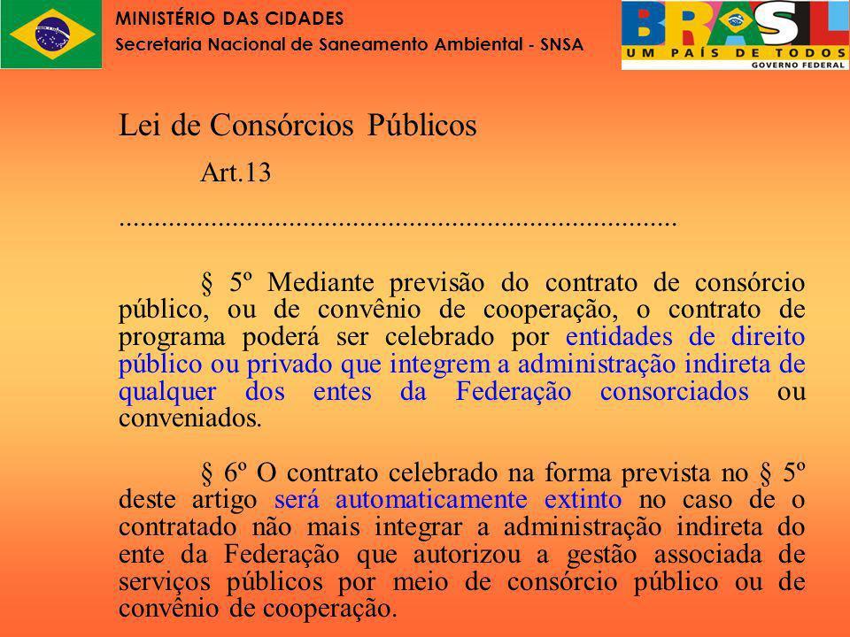 MINISTÉRIO DAS CIDADES Secretaria Nacional de Saneamento Ambiental - SNSA OBSERVAÇÃO O contrato de programa é o indicado para as questões da prestação de serviços públicos por gestão associada.