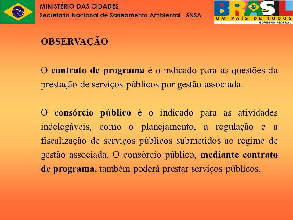 MINISTÉRIO DAS CIDADES Secretaria Nacional de Saneamento Ambiental - SNSA Lei nº 11.107 Esquemas de prestação de serviço público e tipos de contrato de programa