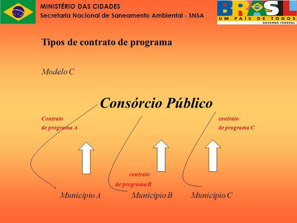 MINISTÉRIO DAS CIDADES Secretaria Nacional de Saneamento Ambiental - SNSA Alternativa adicional Modelo D Prestador contratado mediante licitação Consórcio Público ---------- contrato de concessão Município A Município B Município C