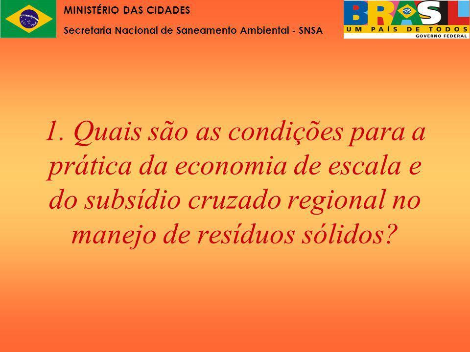1. Quais são as condições para a prática da economia de escala e do subsídio cruzado regional no manejo de resíduos sólidos? MINISTÉRIO DAS CIDADES Se