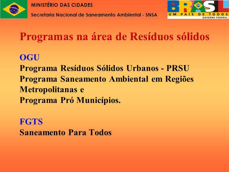 OGU Programa Resíduos Sólidos Urbanos - PRSU Programa Saneamento Ambiental em Regiões Metropolitanas e Programa Pró Municípios. FGTS Saneamento Para T