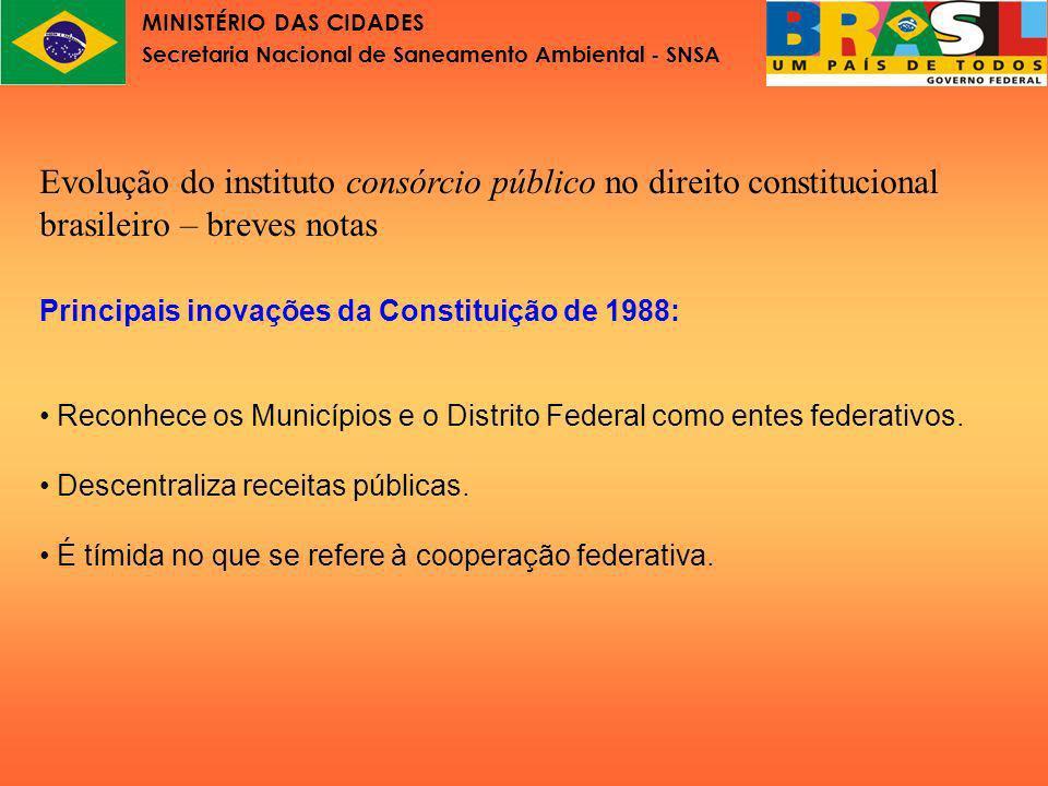 MINISTÉRIO DAS CIDADES Secretaria Nacional de Saneamento Ambiental - SNSA Depois de 1988 o número de consórcios aumentou, especialmente os de saúde.