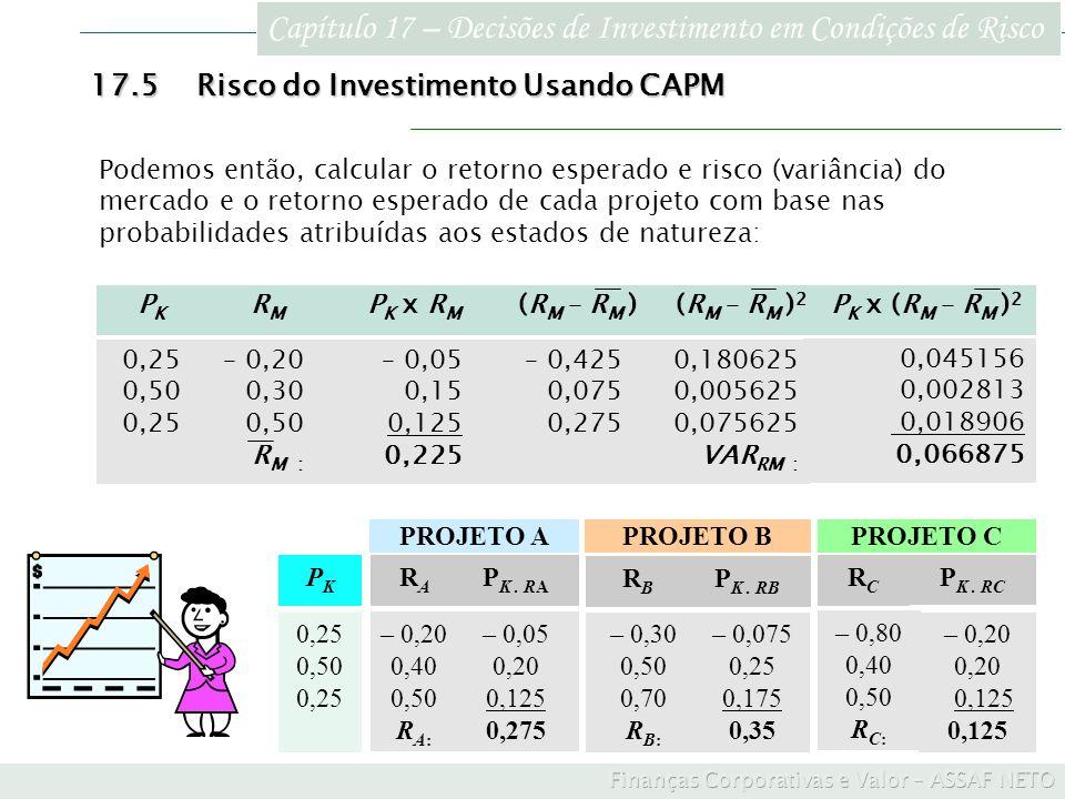 Capítulo 17 – Decisões de Investimento em Condições de Risco 17.5Risco do Investimento Usando CAPM Podemos então, calcular o retorno esperado e risco