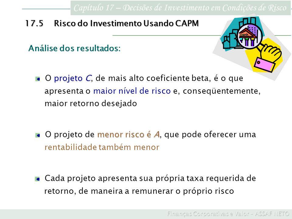Capítulo 17 – Decisões de Investimento em Condições de Risco 17.5Risco do Investimento Usando CAPM Cada projeto apresenta sua própria taxa requerida d