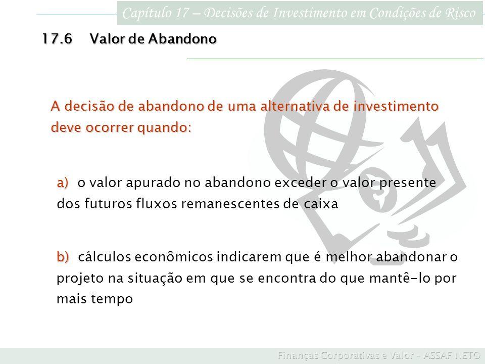Capítulo 17 – Decisões de Investimento em Condições de Risco 17.6Valor de Abandono b) b) cálculos econômicos indicarem que é melhor abandonar o projet