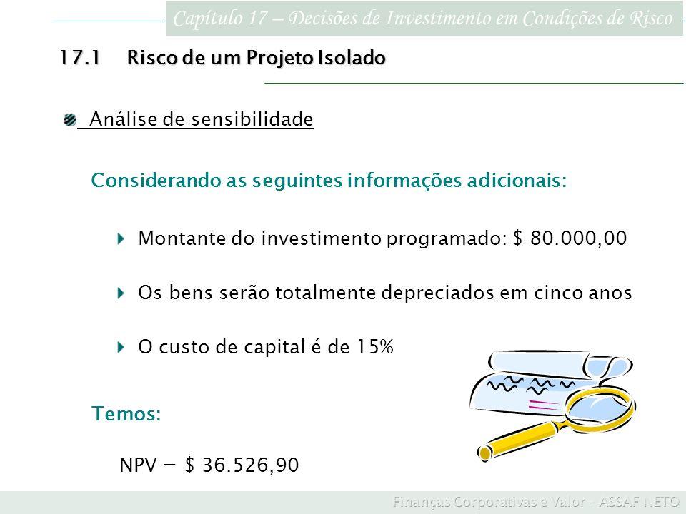 Capítulo 17 – Decisões de Investimento em Condições de Risco 17.1Risco de um Projeto Isolado Análise de sensibilidade Considerando as seguintes inform