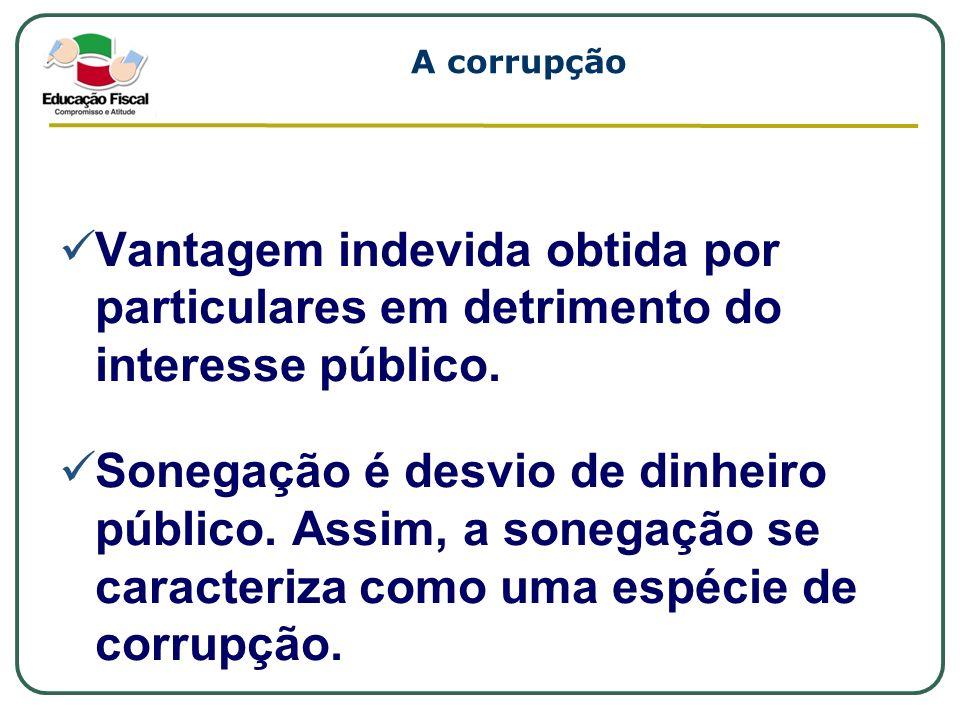 A corrupção Vantagem indevida obtida por particulares em detrimento do interesse público. Sonegação é desvio de dinheiro público. Assim, a sonegação s