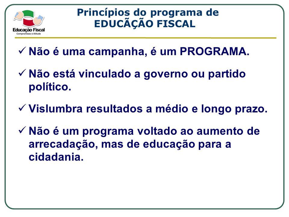 Princípios do programa de EDUCÃÇÃO FISCAL Não é uma campanha, é um PROGRAMA. Não está vinculado a governo ou partido político. Vislumbra resultados a