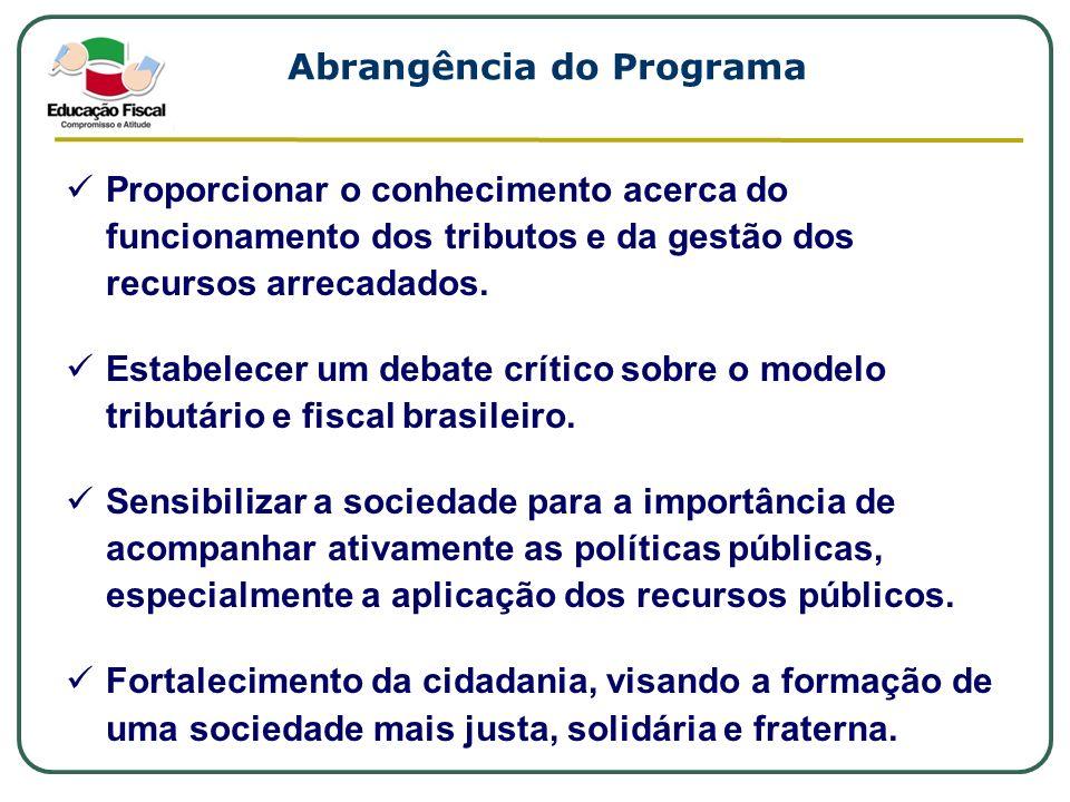 Abrangência do Programa Proporcionar o conhecimento acerca do funcionamento dos tributos e da gestão dos recursos arrecadados. Estabelecer um debate c