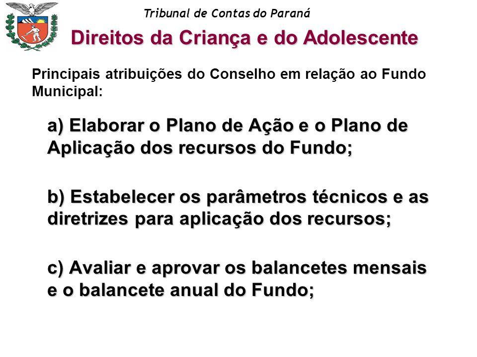 Tribunal de Contas do Paraná a) Elaborar o Plano de Ação e o Plano de Aplicação dos recursos do Fundo; b) Estabelecer os parâmetros técnicos e as dire