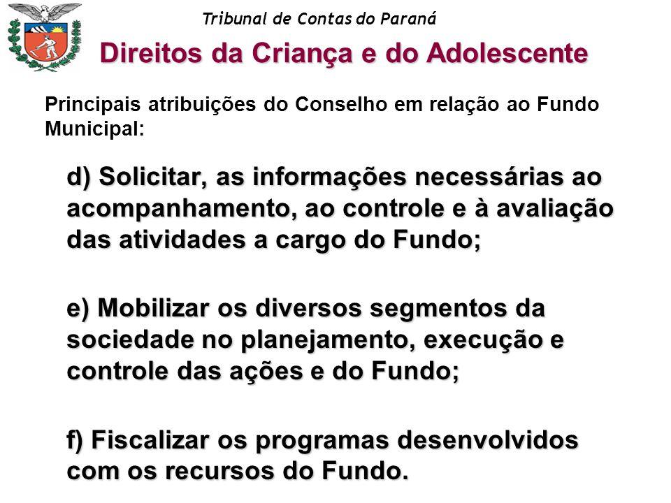 Tribunal de Contas do Paraná d) Solicitar, as informações necessárias ao acompanhamento, ao controle e à avaliação das atividades a cargo do Fundo; e)