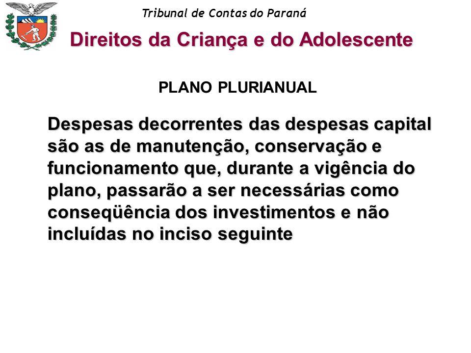 Tribunal de Contas do Paraná Direitos da Criança e do Adolescente PLANO PLURIANUAL Despesas decorrentes das despesas capital são as de manutenção, con