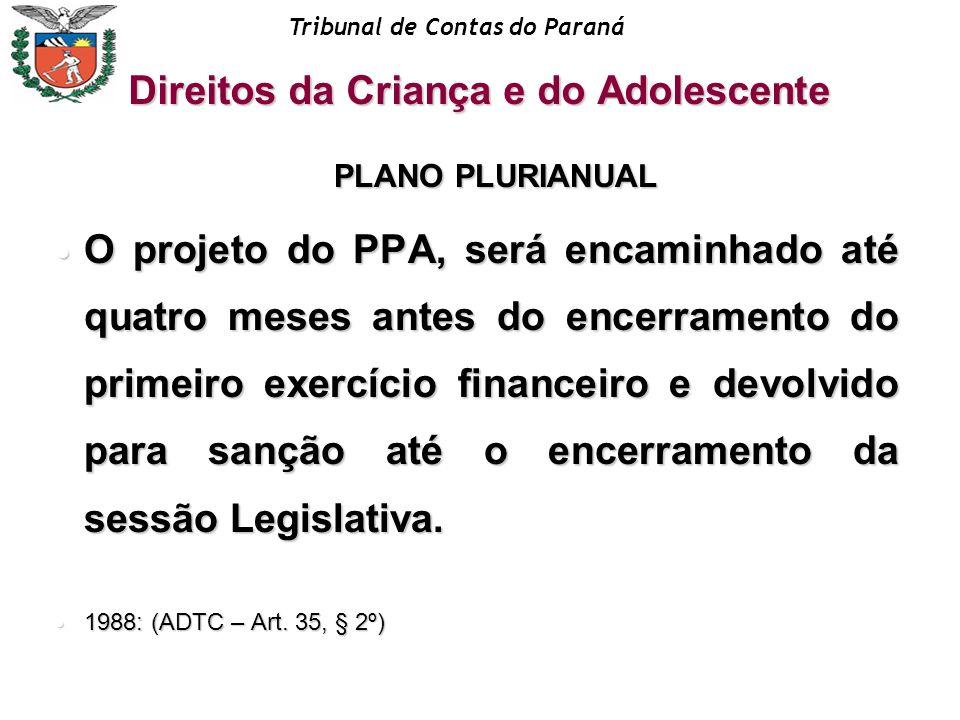 Tribunal de Contas do Paraná PLANO PLURIANUAL PLANO PLURIANUAL O projeto do PPA, será encaminhado até quatro meses antes do encerramento do primeiro e