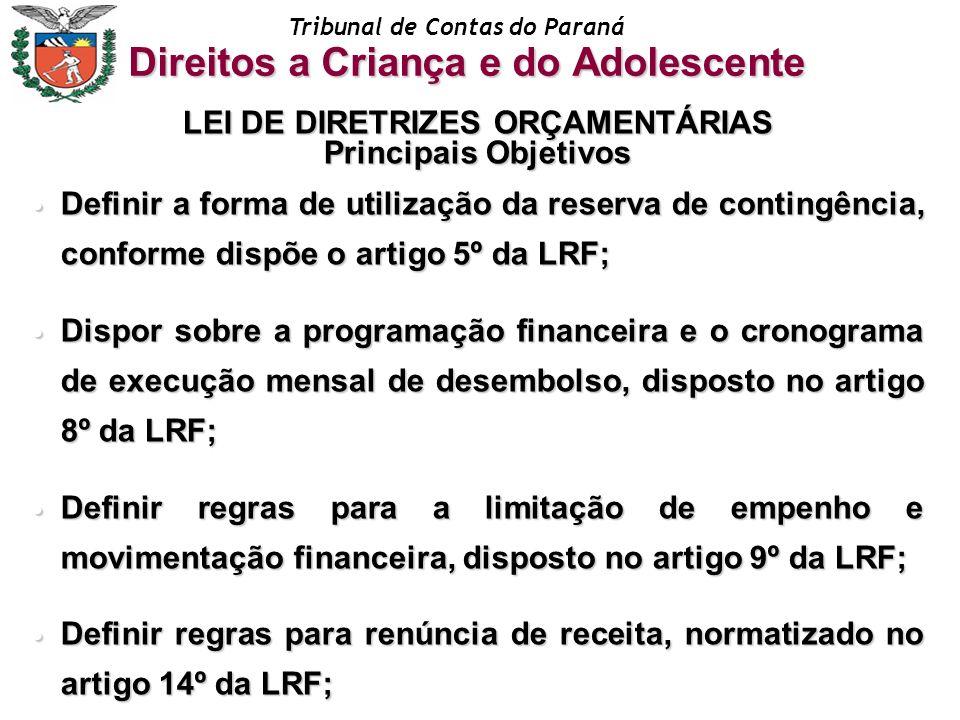 Tribunal de Contas do Paraná LEI DE DIRETRIZES ORÇAMENTÁRIAS Principais Objetivos Definir a forma de utilização da reserva de contingência, conforme d