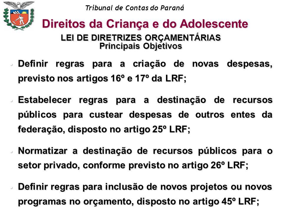 Tribunal de Contas do Paraná LEI DE DIRETRIZES ORÇAMENTÁRIAS Principais Objetivos Definir regras para a criação de novas despesas, previsto nos artigo