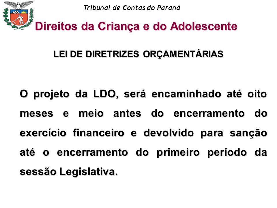 Tribunal de Contas do Paraná LEI DE DIRETRIZES ORÇAMENTÁRIAS O projeto da LDO, será encaminhado até oito meses e meio antes do encerramento do exercíc
