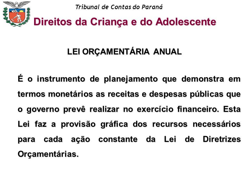 Tribunal de Contas do Paraná LEI ORÇAMENTÁRIA ANUAL É o instrumento de planejamento que demonstra em termos monetários as receitas e despesas públicas