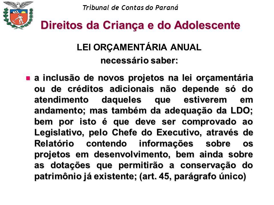Tribunal de Contas do Paraná LEI ORÇAMENTÁRIA ANUAL necessário saber: a inclusão de novos projetos na lei orçamentária ou de créditos adicionais não d