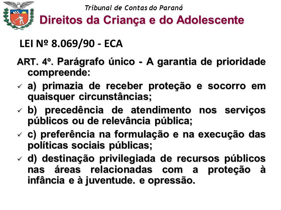 Tribunal de Contas do Paraná ART. 4º. Parágrafo único - A garantia de prioridade compreende: a) primazia de receber proteção e socorro em quaisquer ci