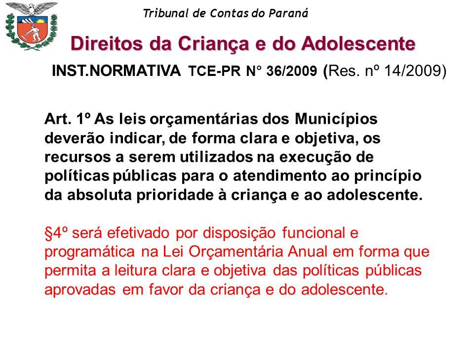 Tribunal de Contas do Paraná INST.NORMATIVA TCE-PR N° 36/2009 (Res. nº 14/2009) Art. 1º As leis orçamentárias dos Municípios deverão indicar, de forma