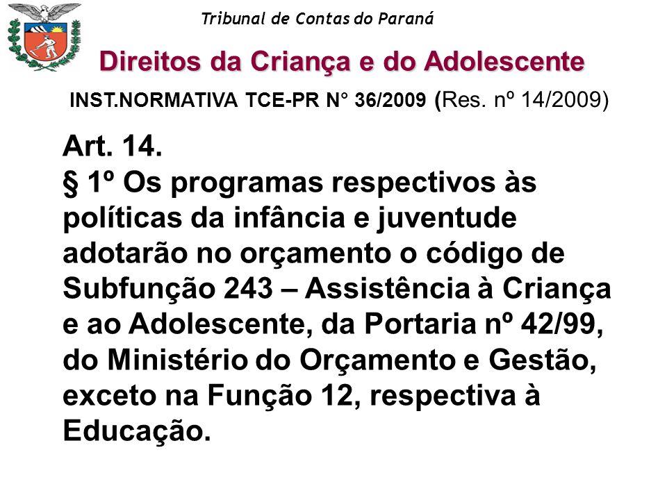 Tribunal de Contas do Paraná INST.NORMATIVA TCE-PR N° 36/2009 (Res. nº 14/2009) Art. 14. § 1º Os programas respectivos às políticas da infância e juve