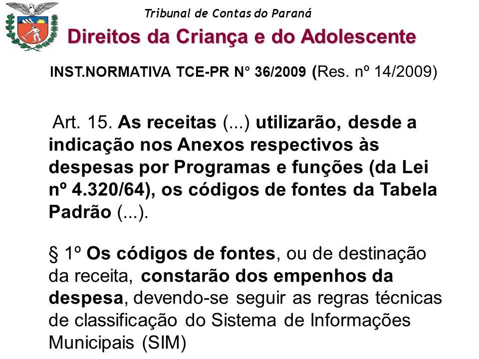Tribunal de Contas do Paraná Art. 15. As receitas (...) utilizarão, desde a indicação nos Anexos respectivos às despesas por Programas e funções (da L
