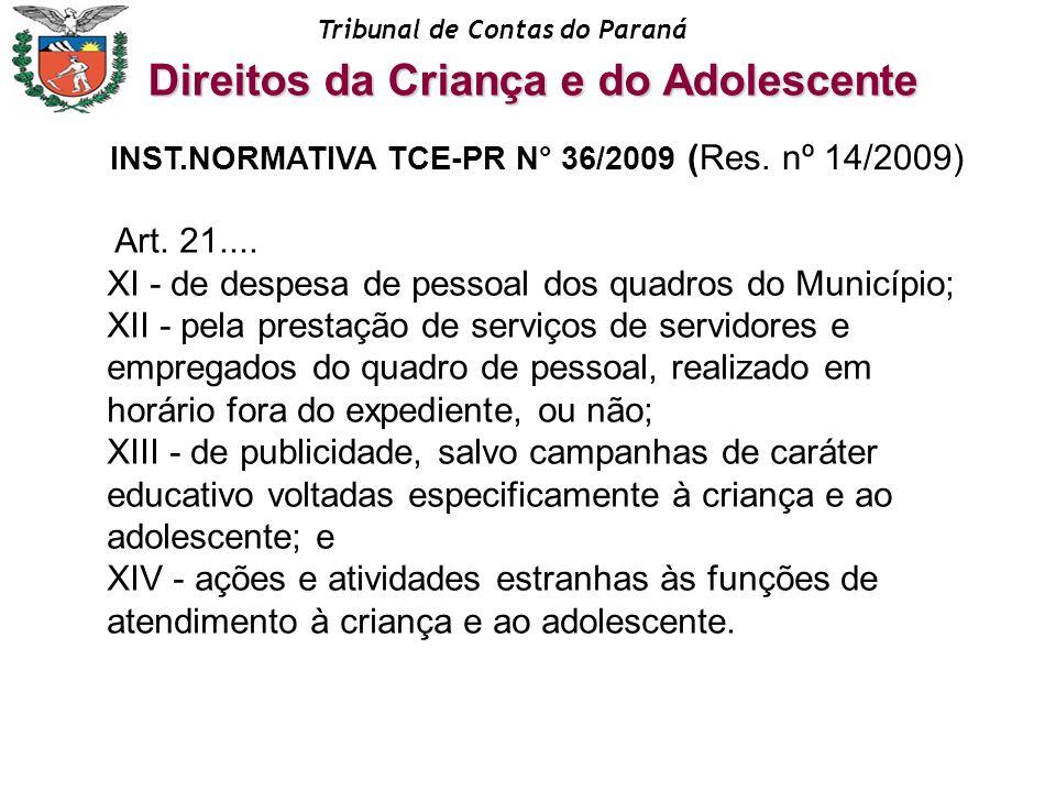 Tribunal de Contas do Paraná Art. 21.... XI - de despesa de pessoal dos quadros do Município; XII - pela prestação de serviços de servidores e emprega