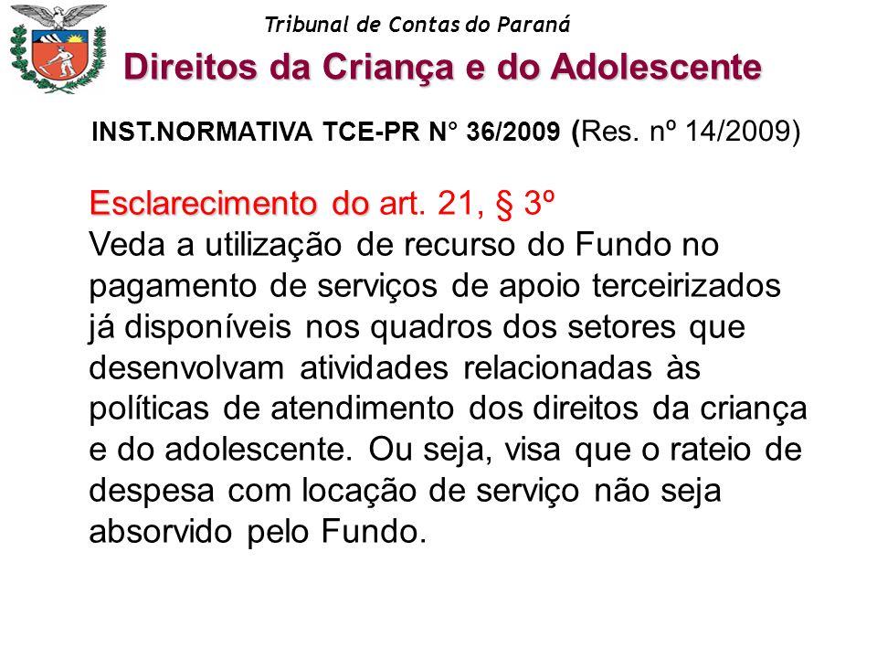 Tribunal de Contas do Paraná Esclarecimento do Esclarecimento do art. 21, § 3º Veda a utilização de recurso do Fundo no pagamento de serviços de apoio
