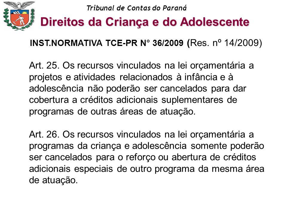 Tribunal de Contas do Paraná Art. 25. Os recursos vinculados na lei orçamentária a projetos e atividades relacionados à infância e à adolescência não