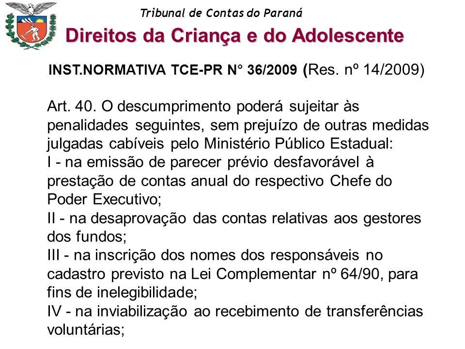 Tribunal de Contas do Paraná Art. 40. O descumprimento poderá sujeitar às penalidades seguintes, sem prejuízo de outras medidas julgadas cabíveis pelo