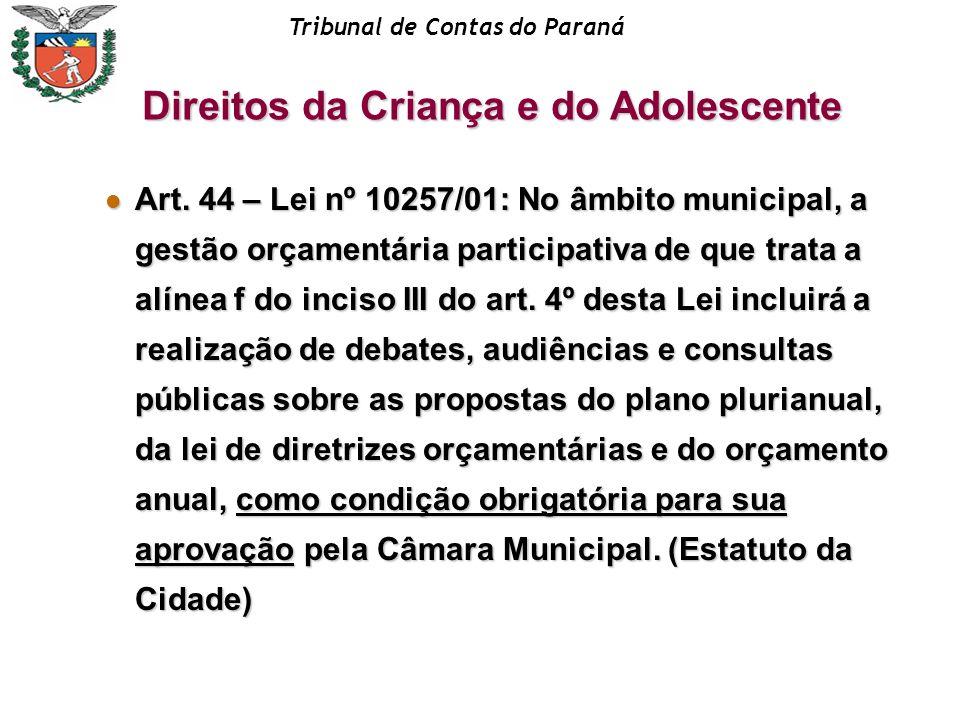 Tribunal de Contas do Paraná Art. 44 – Lei nº 10257/01: No âmbito municipal, a gestão orçamentária participativa de que trata a alínea f do inciso III