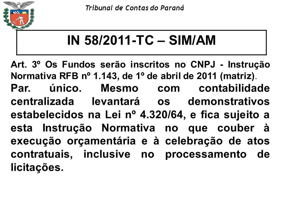Tribunal de Contas do Paraná IN 58/2011-TC – SIM/AM Art. 3º Os Fundos serão inscritos no CNPJ - Instrução Normativa RFB nº 1.143, de 1º de abril de 20
