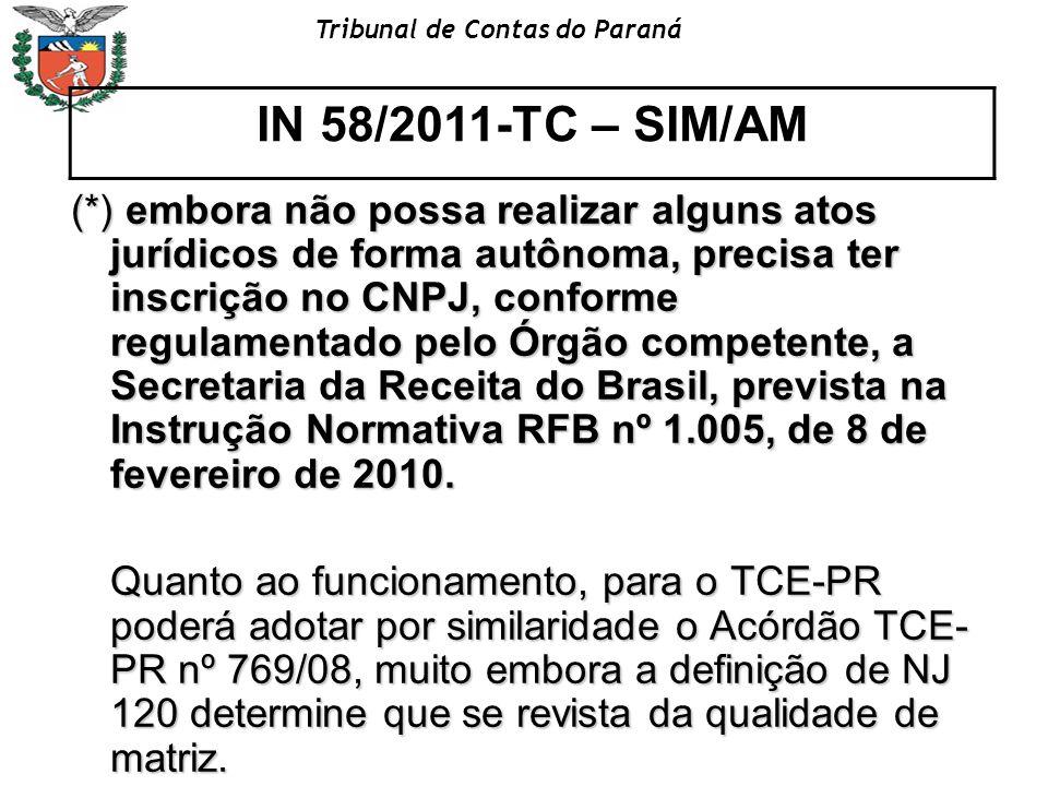 Tribunal de Contas do Paraná (*) embora não possa realizar alguns atos jurídicos de forma autônoma, precisa ter inscrição no CNPJ, conforme regulament