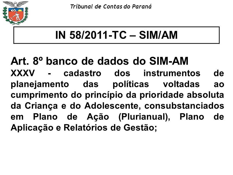 Tribunal de Contas do Paraná IN 58/2011-TC – SIM/AM Art. 8º banco de dados do SIM-AM XXXV - cadastro dos instrumentos de planejamento das políticas vo