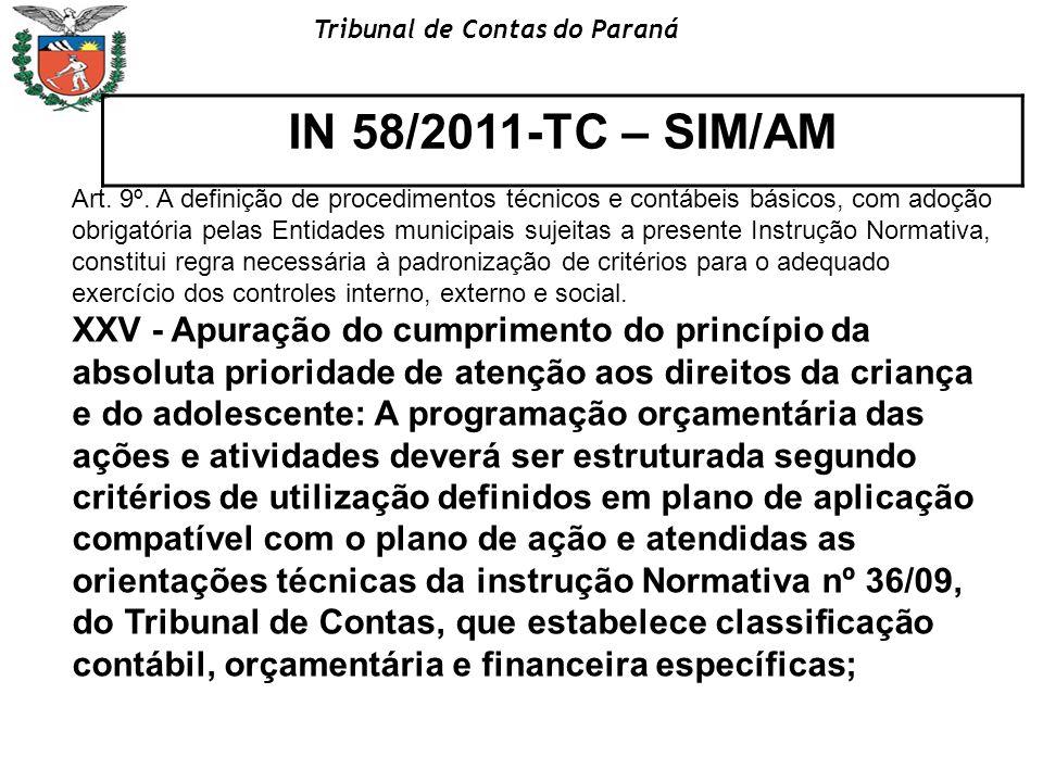 Tribunal de Contas do Paraná IN 58/2011-TC – SIM/AM Art. 9º. A definição de procedimentos técnicos e contábeis básicos, com adoção obrigatória pelas E