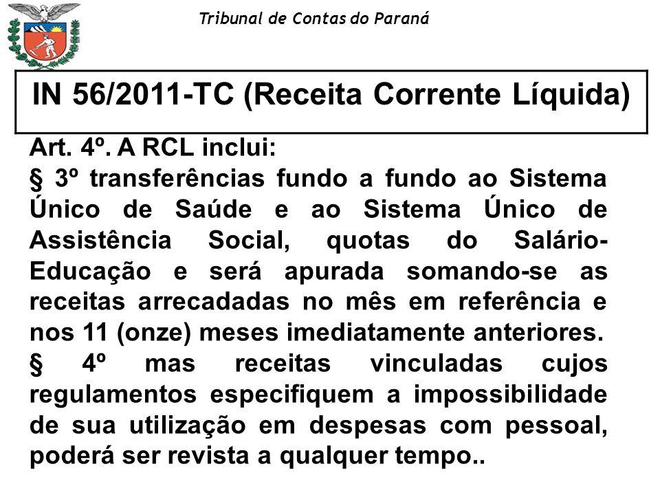 Tribunal de Contas do Paraná IN 56/2011-TC (Receita Corrente Líquida) Art. 4º. A RCL inclui: § 3º transferências fundo a fundo ao Sistema Único de Saú