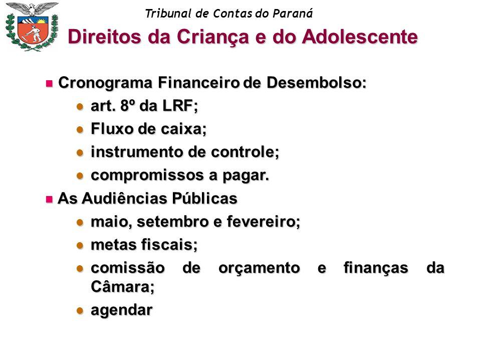 Tribunal de Contas do Paraná Cronograma Financeiro de Desembolso: Cronograma Financeiro de Desembolso: art. 8º da LRF; art. 8º da LRF; Fluxo de caixa;
