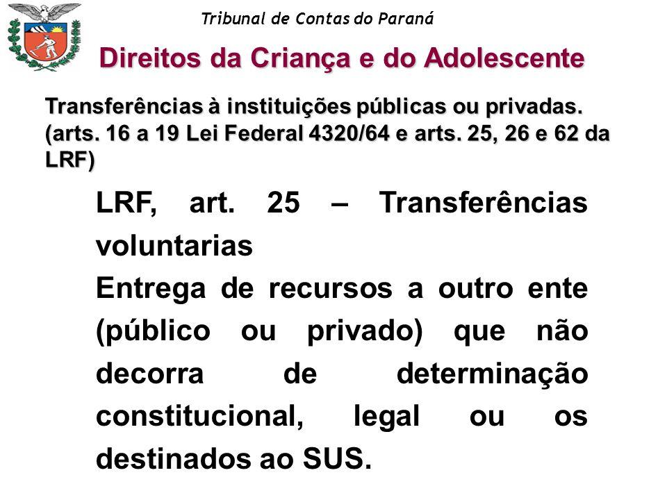 Tribunal de Contas do Paraná Transferências à instituições públicas ou privadas. (arts. 16 a 19 Lei Federal 4320/64 e arts. 25, 26 e 62 da LRF) Direit
