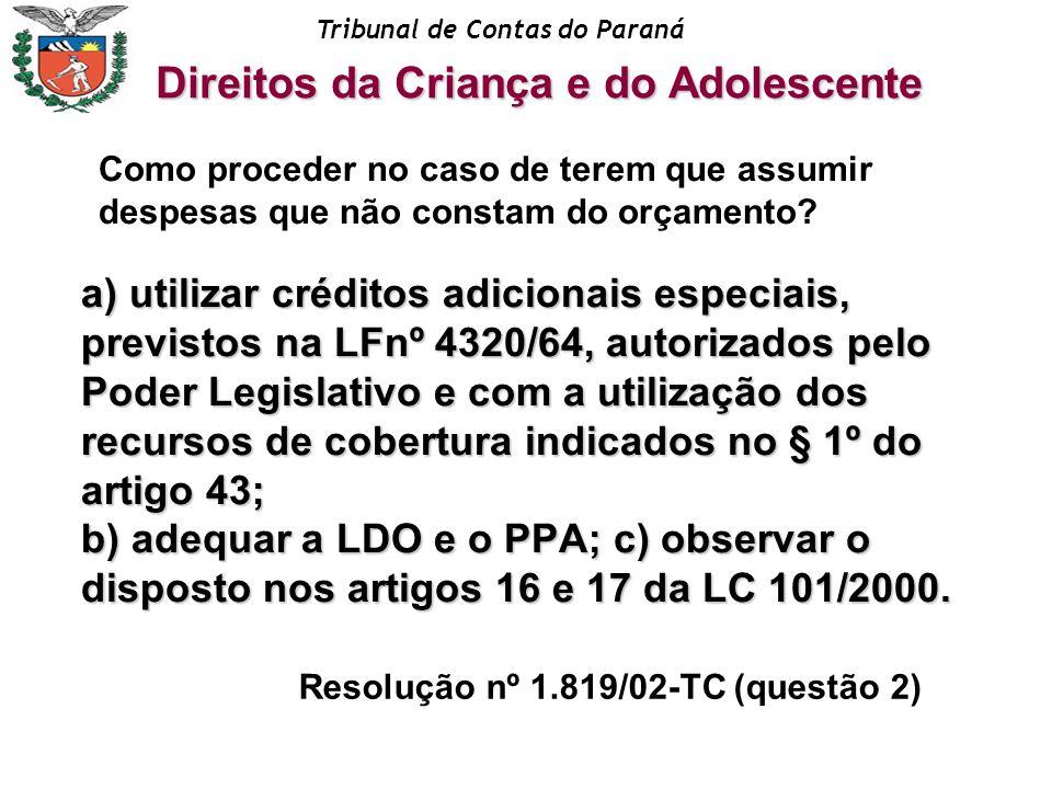 Tribunal de Contas do Paraná a) utilizar créditos adicionais especiais, previstos na LFnº 4320/64, autorizados pelo Poder Legislativo e com a utilizaç