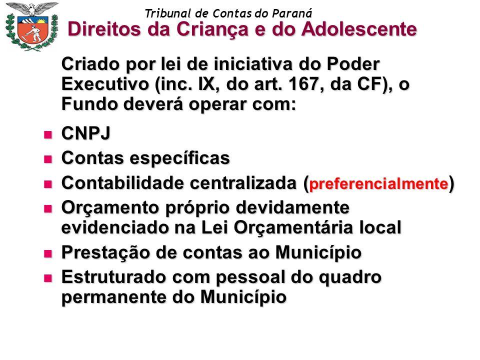 Tribunal de Contas do Paraná Criado por lei de iniciativa do Poder Executivo (inc. IX, do art. 167, da CF), o Fundo deverá operar com: CNPJ CNPJ Conta