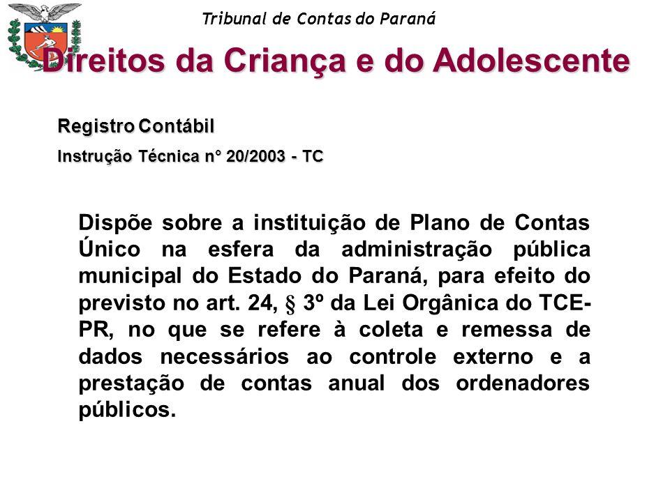 Tribunal de Contas do Paraná Registro Contábil Instrução Técnica n° 20/2003 - TC Dispõe sobre a instituição de Plano de Contas Único na esfera da admi