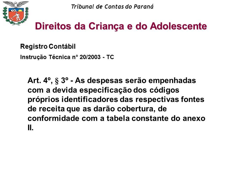 Tribunal de Contas do Paraná Registro Contábil Instrução Técnica n° 20/2003 - TC Art. 4º, § 3º - As despesas serão empenhadas com a devida especificaç