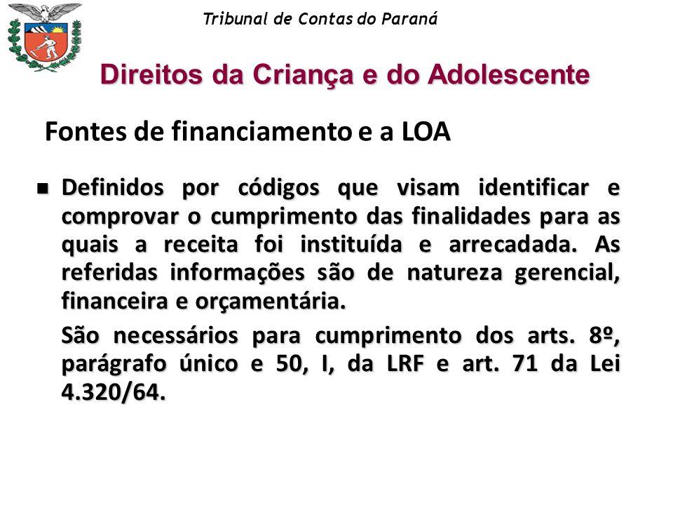 Tribunal de Contas do Paraná Definidos por códigos que visam identificar e comprovar o cumprimento das finalidades para as quais a receita foi institu